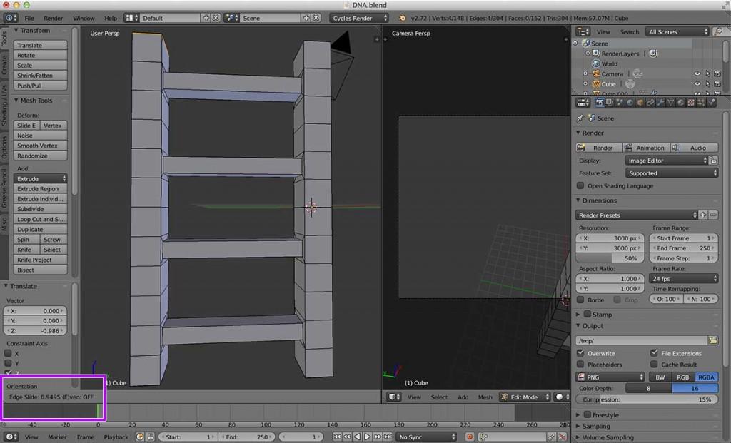 次は、この段階では効果の分からない編集です。後ほど全体を丸める処理をしますが、その時に隣のDNAと隙間が空いてしまわないように、角を丸めないための編集です。