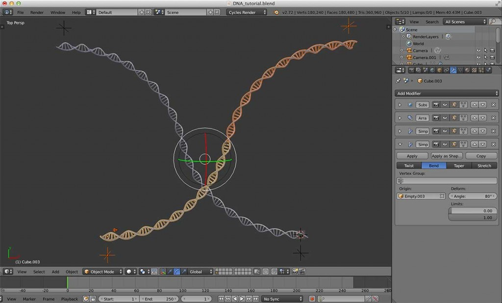 出来上がった DNA の鎖と Empty 全てを選択し、さらに Alt + D でインスタンス複製します。複製したら X 軸を基準にして180度回転させます。