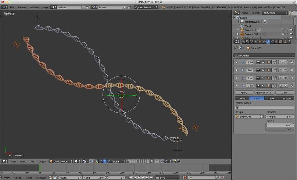 最後にZ 軸を基準に、適度に回転させて二重螺旋構造を完成させます。