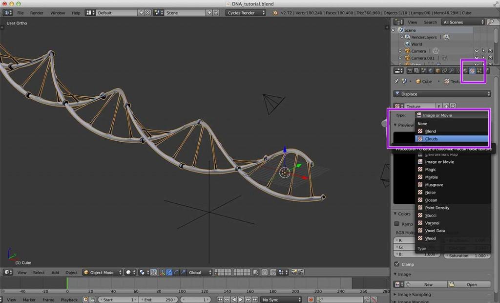 Texture パネルに移動し、Texture のタイプをClouds に設定します。