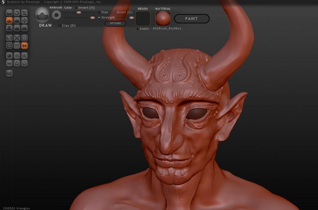Sculptris作業画面:粘土のような見掛けになっています