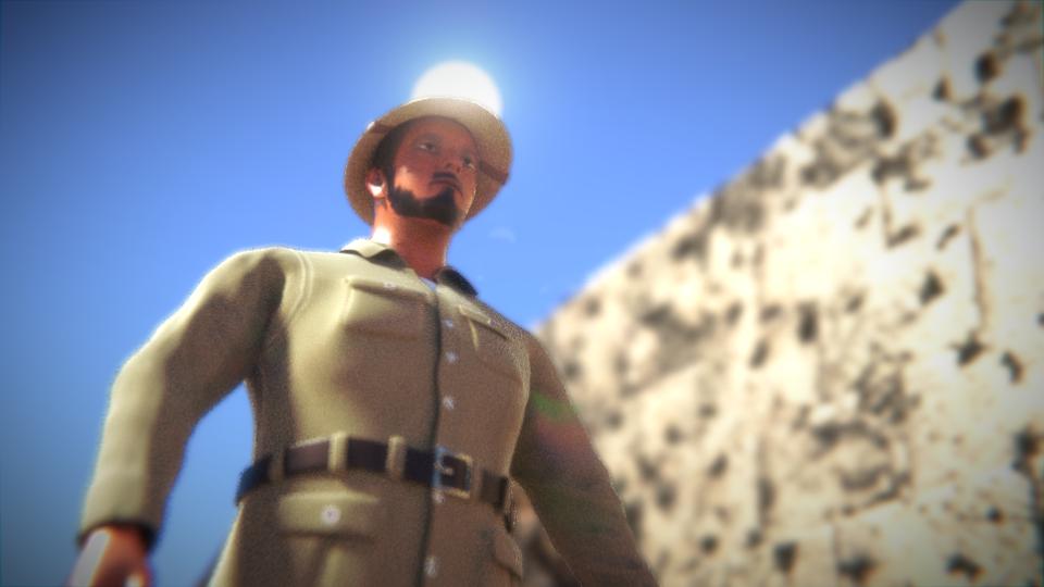 発掘現場の考古学者も