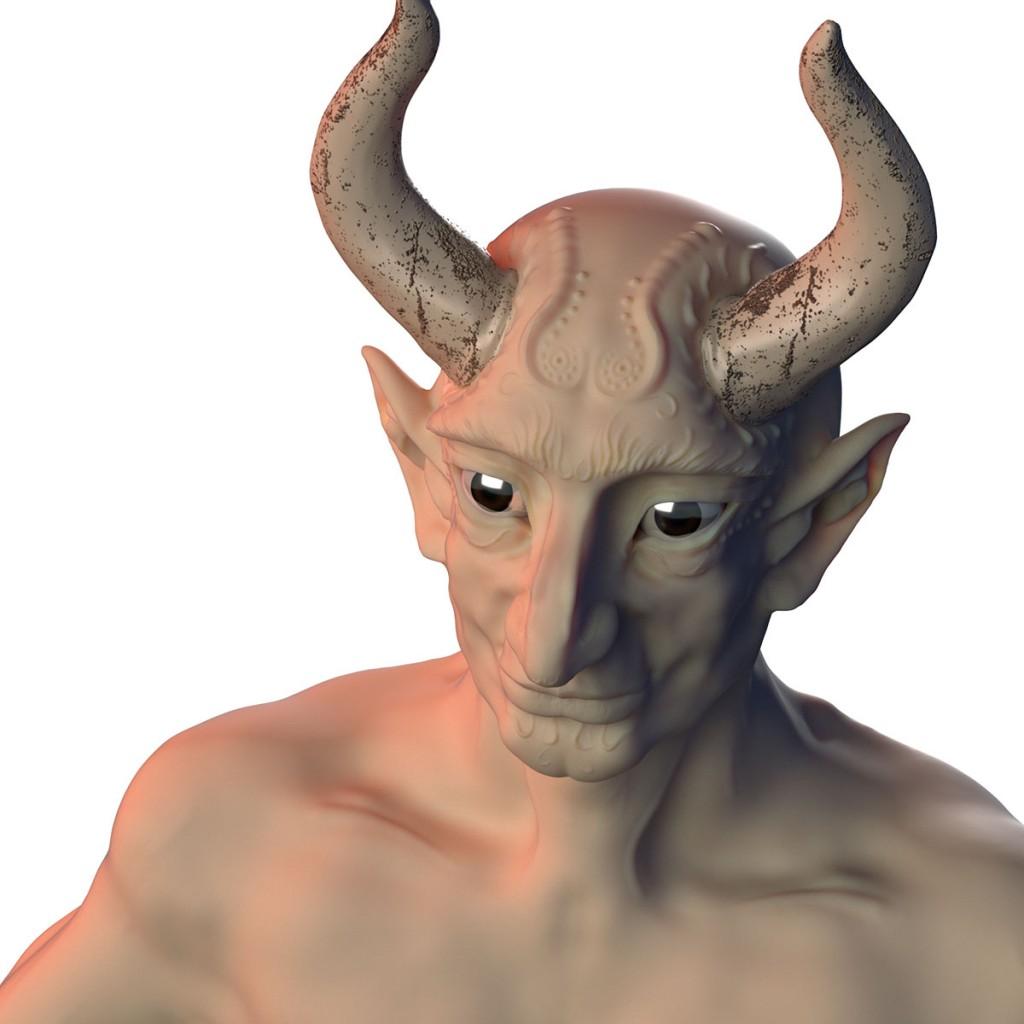 Blenderでのレンダリング結果:人肌っぽい色調で、背景もありません