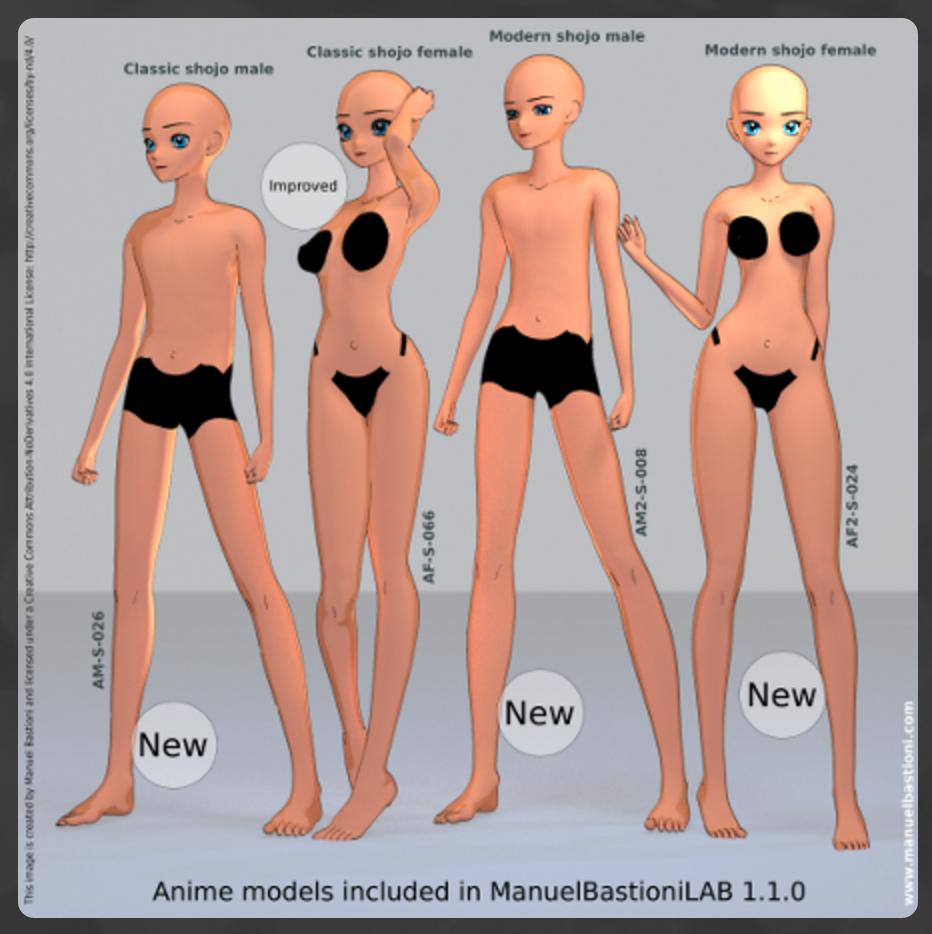 追加されたモダンアニメの少年少女と改良されたクラシックタイプのアニメ少女