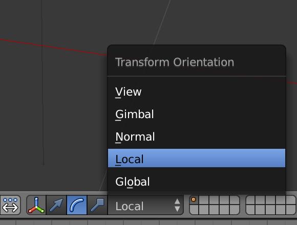 下の矢印が「移動ツール」、円弧が「回転ツール」です。その右の「Global」と「Local」を切り替えることで、カメラの位置や向きを調整しやすくなります。