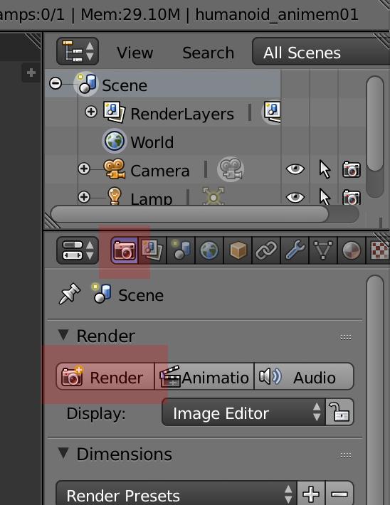 カメラのタブが選択されていれば、「Render」ボタンがあるはず。これをクリックすると、画面内にあるバーチャルなカメラで男の子を画像化します。