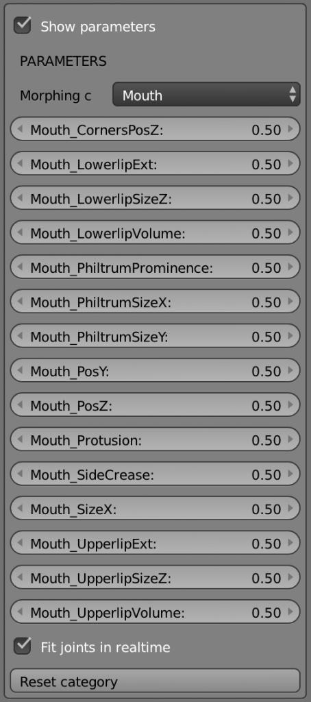 こちらは口の部分部分をコントロール