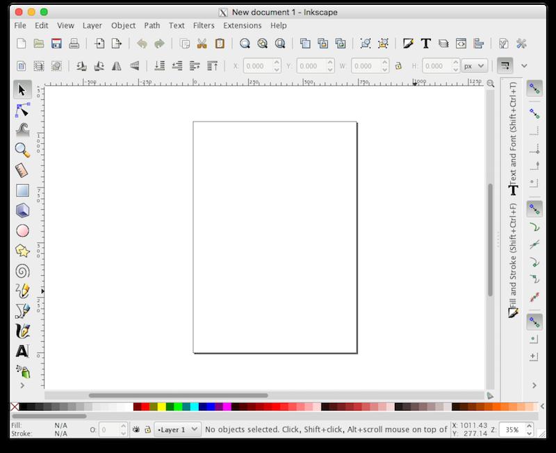 Inkscape起動時のアートボード