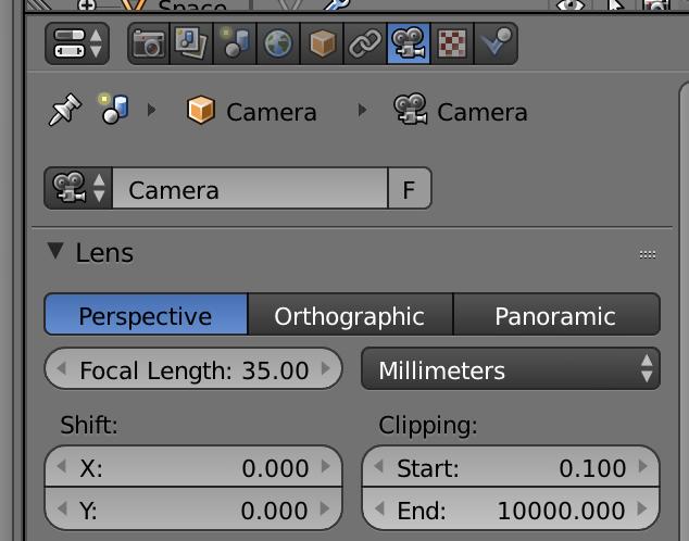 画面右のパネルからムービーカメラのアイコンを選択して、カメラ設定を出します。ClippingのEnd値を100倍くらいにしましょう。10,000なら、10km先までカメラに写ります。