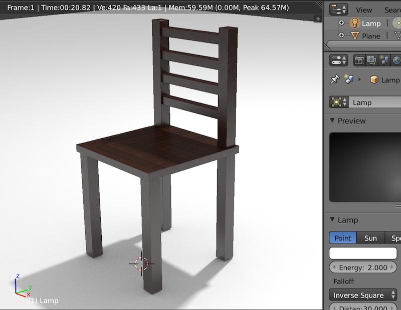 光の強さを倍にしています。全体的に明るくなり、椅子への白い映り込みもより白くなっています。