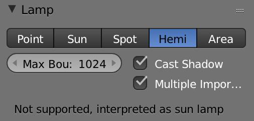 下に書いてありますね。「Not supported, interpreted as sun lamp(=サポートされていませんので、太陽のふるまいに置き換えられます)」