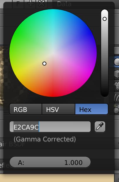Color設定の色四角をクリックし、表示されたカラーホイールの下にある「Hex」をクリックすると、その下に現在の色のHex値が出ます。これはコピペ出来るので、使い回しが効いて便利なのです。