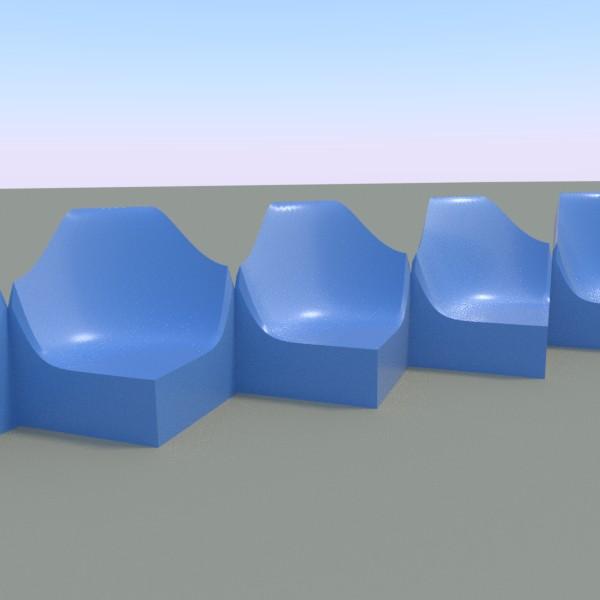 ベンチ(形の半分は地面にめりこませ、出来上がった形をArray出並べています)