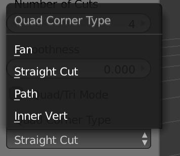 Quad Corner Typeの選択肢は4つ